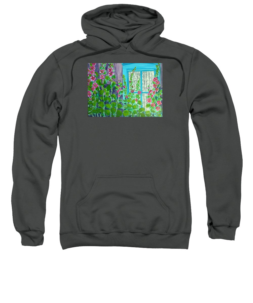 Hollyhocks Sweatshirt featuring the painting Hollyhock Surprise by Laurie Morgan