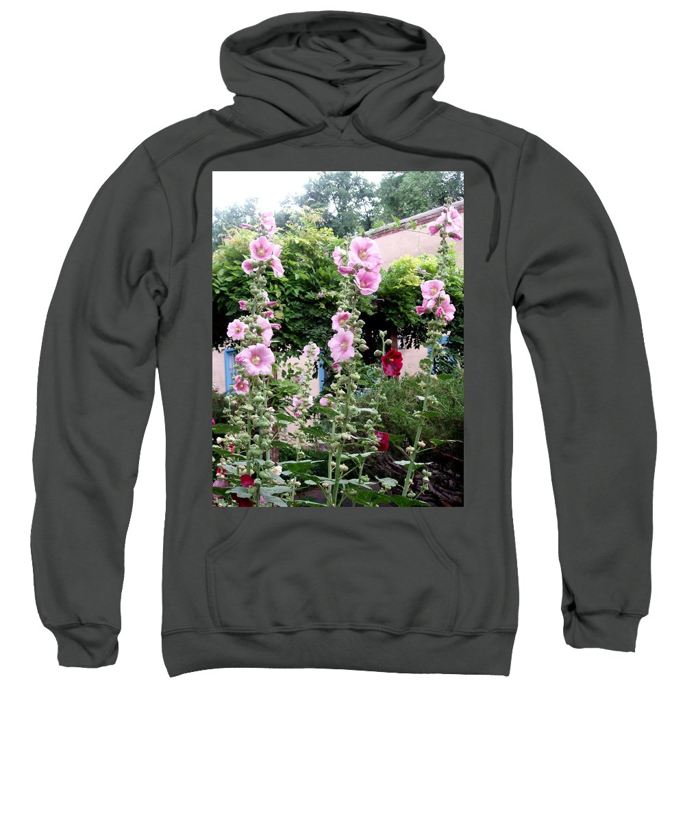 Flowers Sweatshirt featuring the photograph Hollyhocks Taos New Mexico by Wayne Potrafka