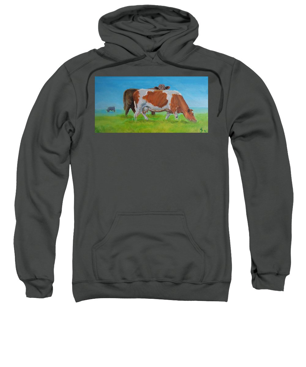 Holstein Sweatshirt featuring the painting Holstein Friesian Cow And Brown Cow by Mike Jory