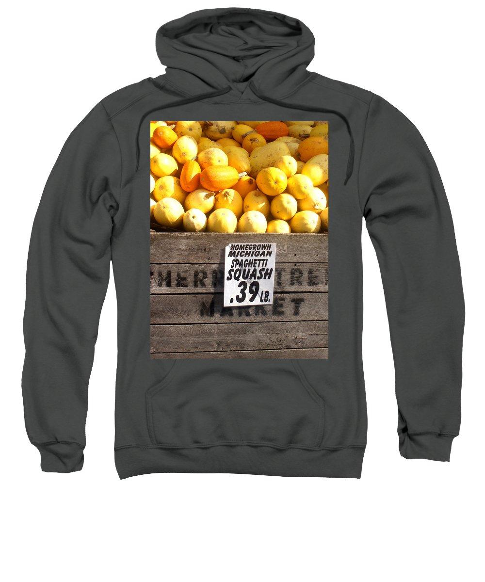 Michigan Sweatshirt featuring the photograph Homegrown Michigan Spaghetti Squash by Wayne Potrafka