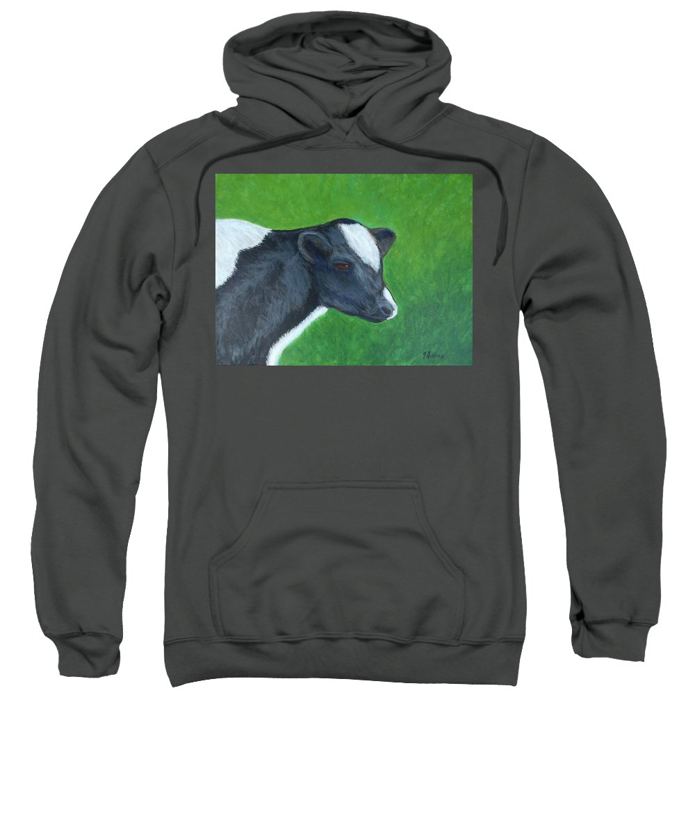 Cow Sweatshirt featuring the painting Homeland Creamery Resident by Justin Holdren