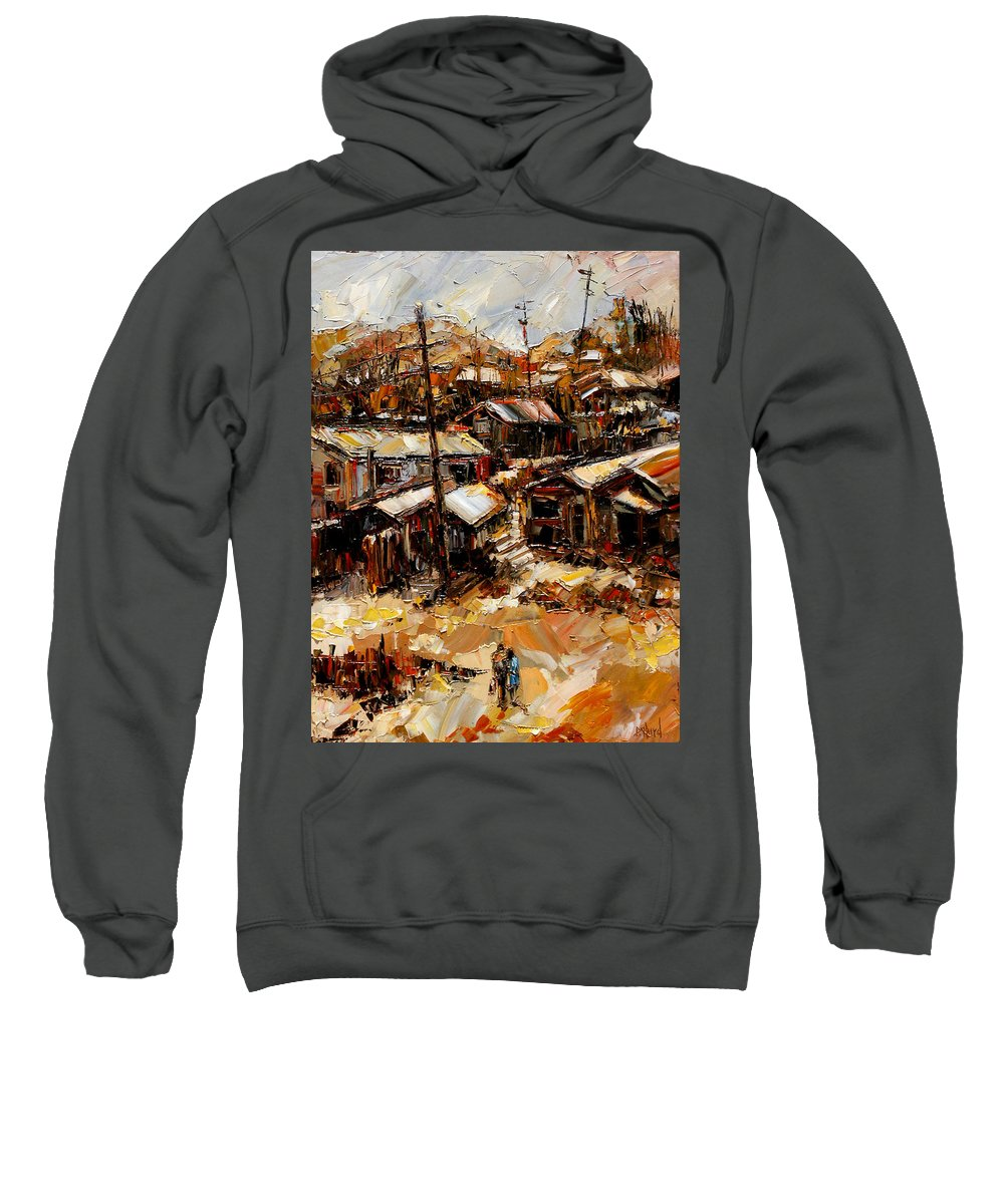 Chaves Revine Sweatshirt featuring the painting Homes In The Hills Chaves Revine by Debra Hurd