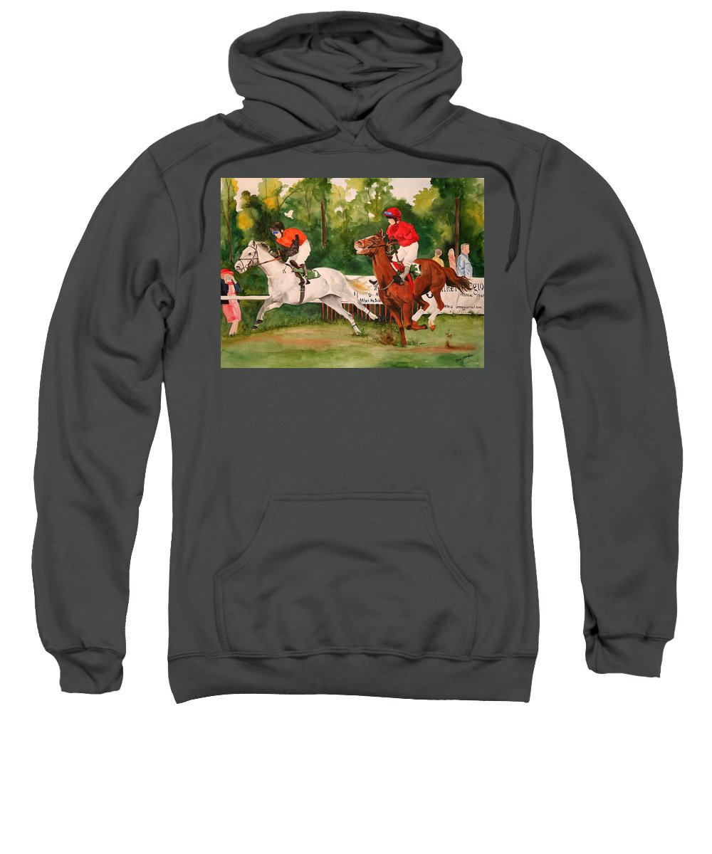 Racing Sweatshirt featuring the painting Homestretch by Jean Blackmer