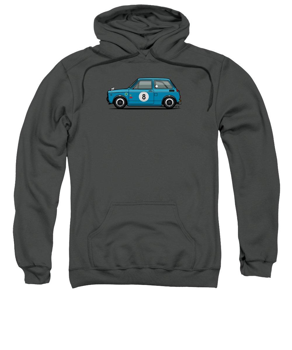 Car Sweatshirt featuring the mixed media Honda N600 Blue Kei Race Car by Monkey Crisis On Mars