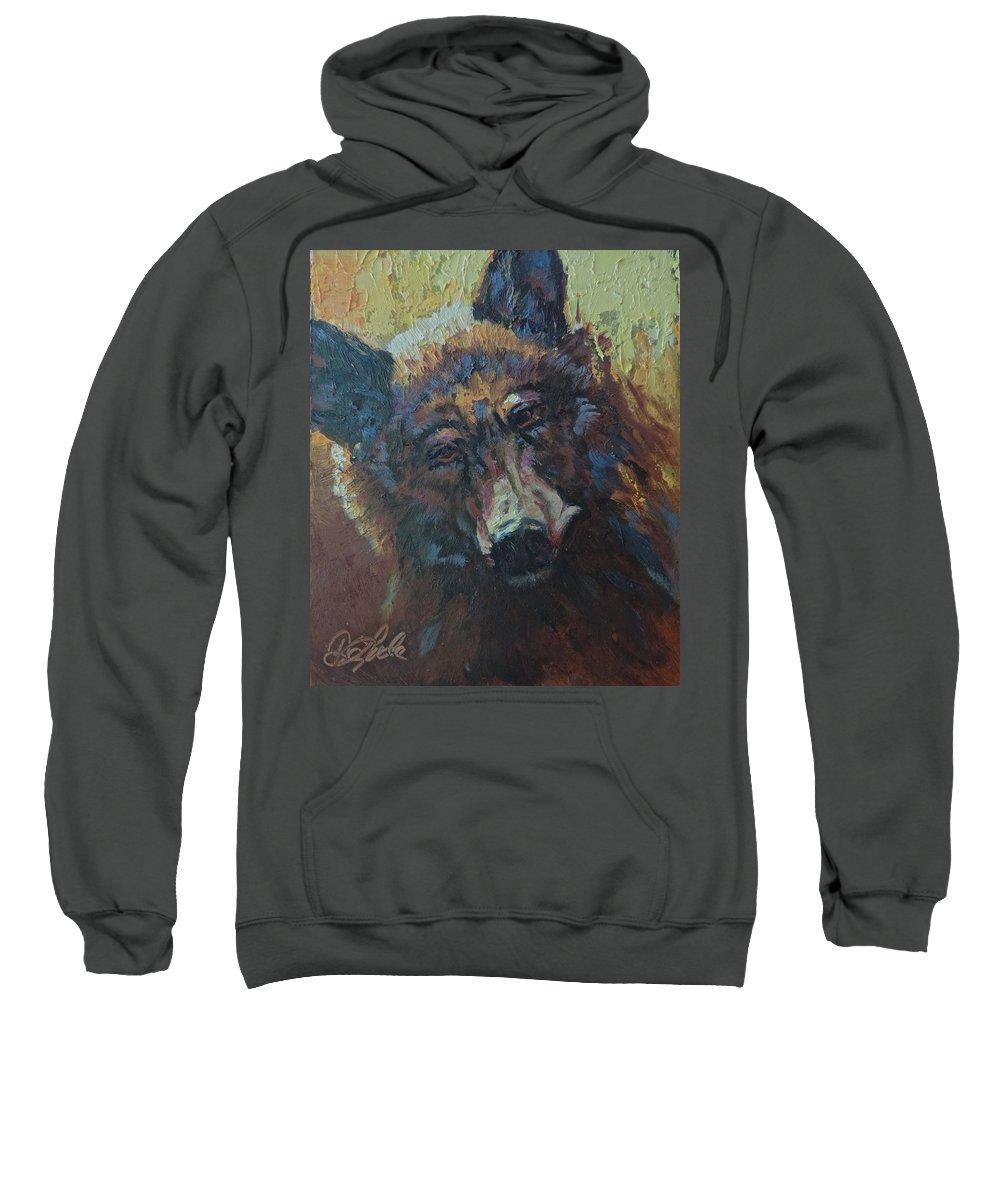 Bear Sweatshirt featuring the painting Honey Bear by Mia DeLode