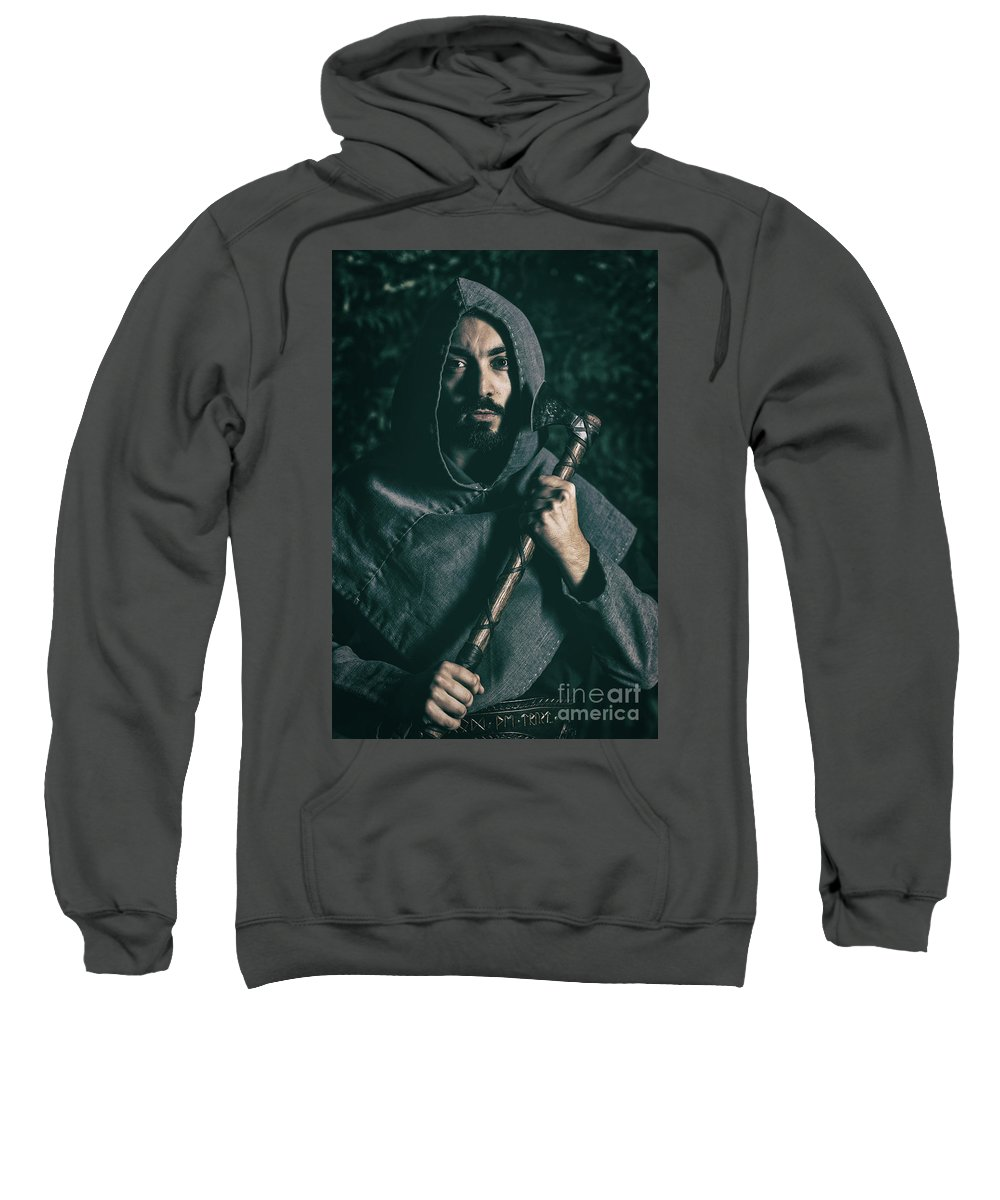 Got Sweatshirt featuring the photograph Hooded Man With Axe by Amanda Elwell
