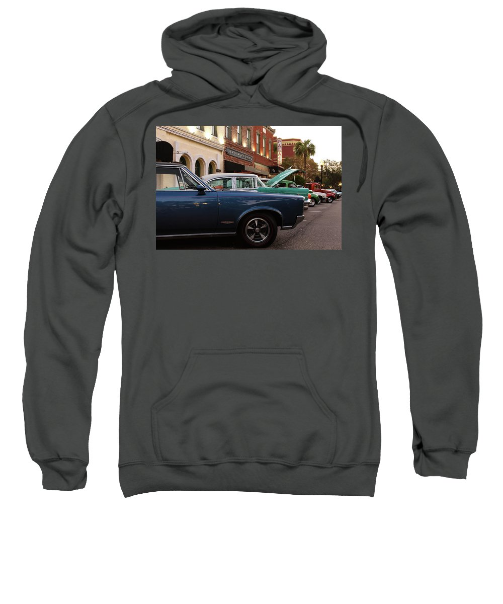 Car Show Sweatshirt featuring the photograph Hoods Up by Timothy Cummiskey