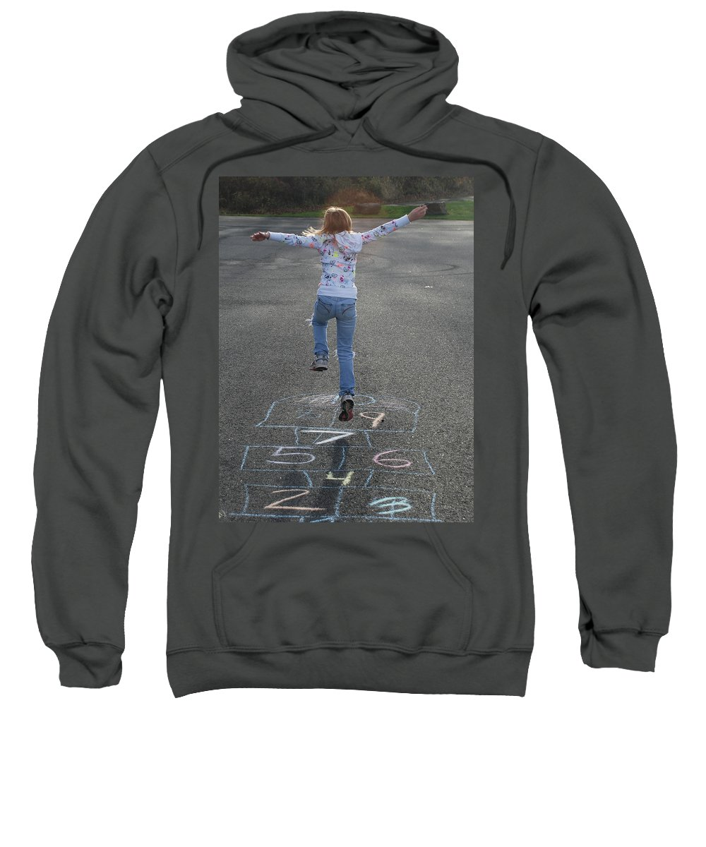 Girl Sweatshirt featuring the photograph Hopscotch Queen by Richard Bryce and Family