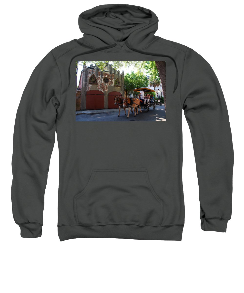 Photography Sweatshirt featuring the photograph Horse Carriage At Kings Street by Susanne Van Hulst