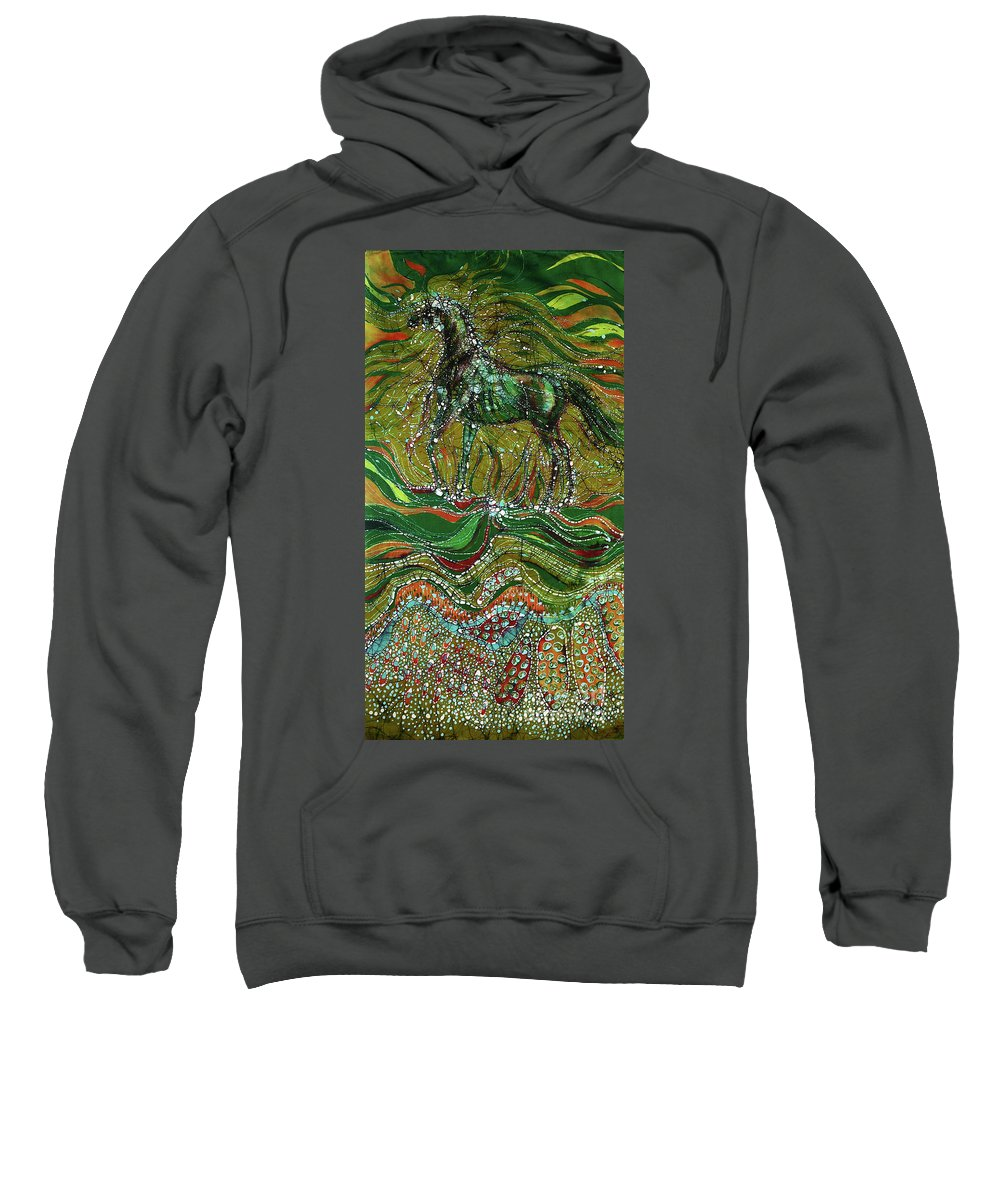 Horse Sweatshirt featuring the tapestry - textile Horse Rises From The Earth by Carol Law Conklin