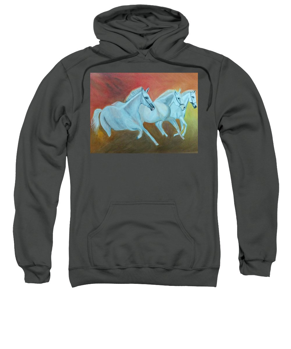 Original Painting Sweatshirt featuring the painting Horses Gone Wild by Shweta Singh