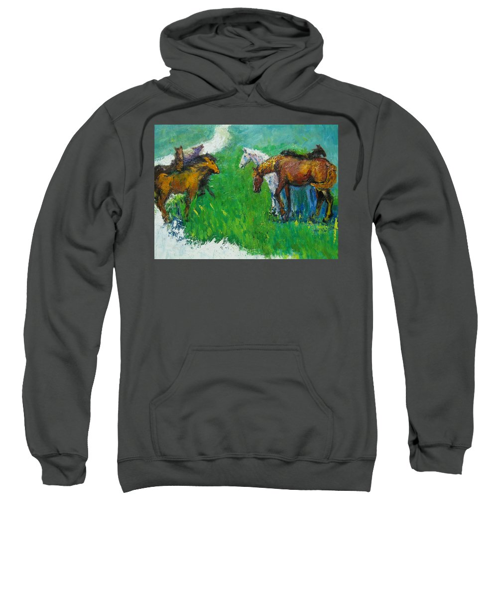 Horses Sweatshirt featuring the painting Horses by Guanyu Shi