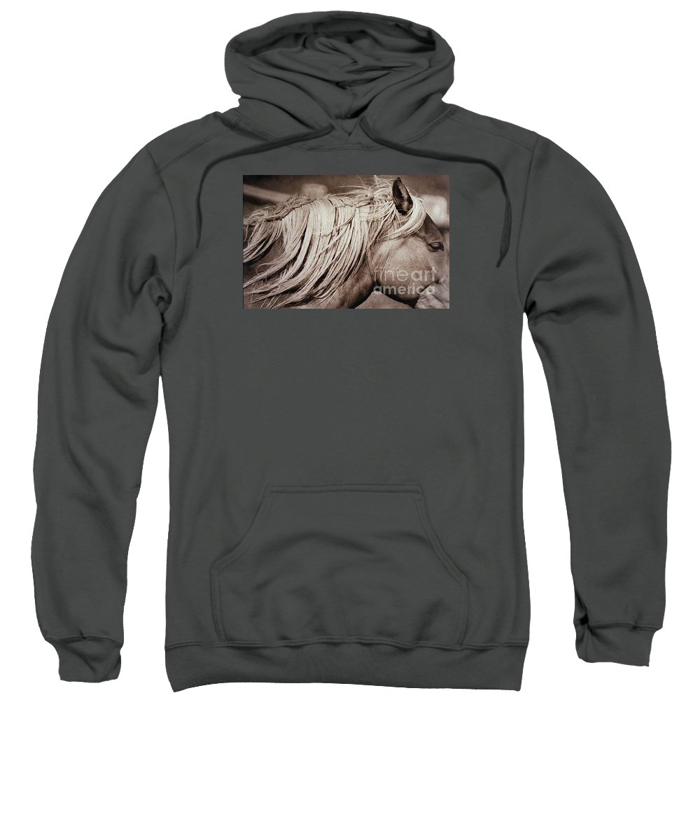 Horse Sweatshirt featuring the photograph Horse's mane by Michael Ziegler