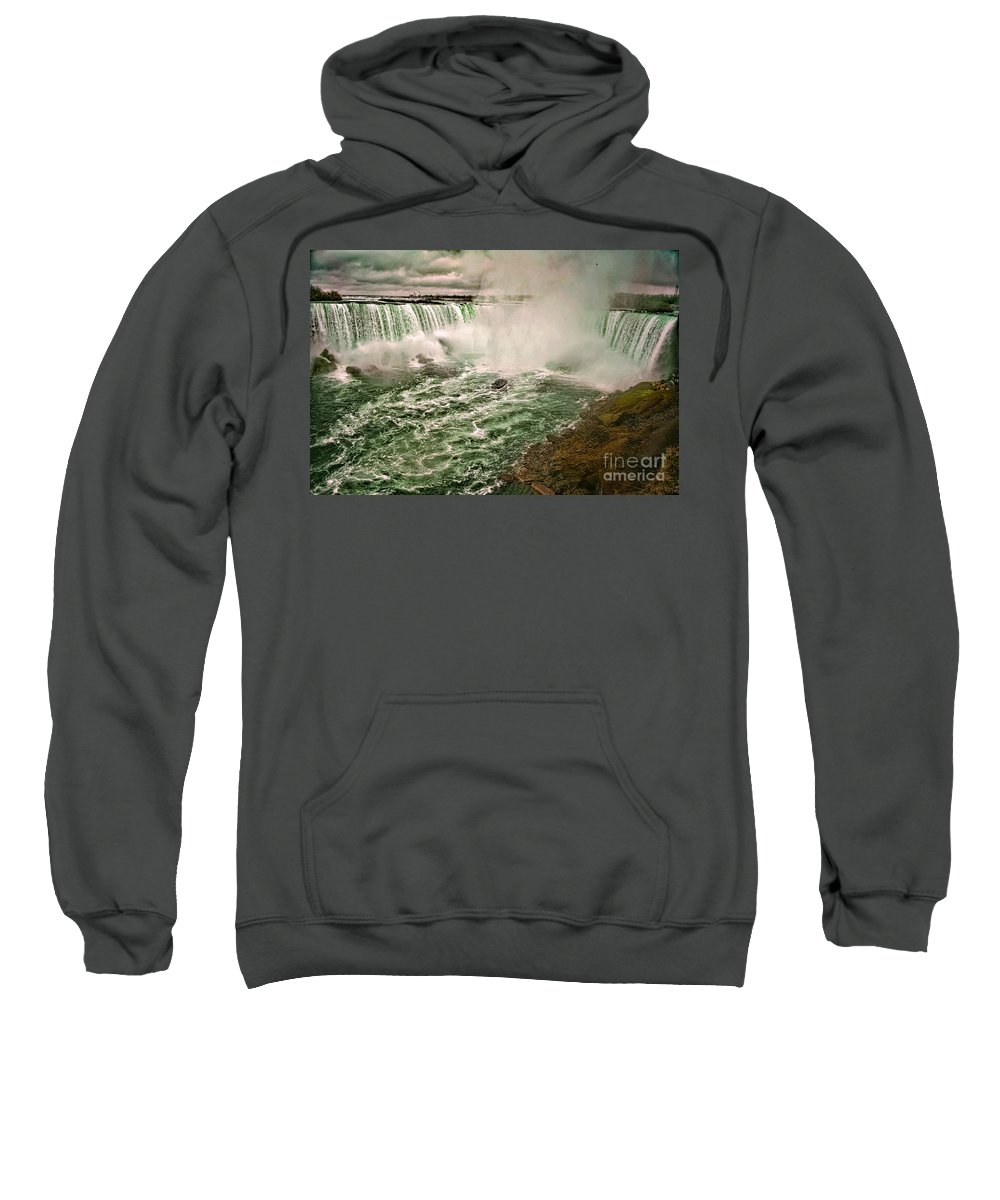 Rainbow Bridge Sweatshirt featuring the photograph Horseshoe Falls by Gaby Swanson