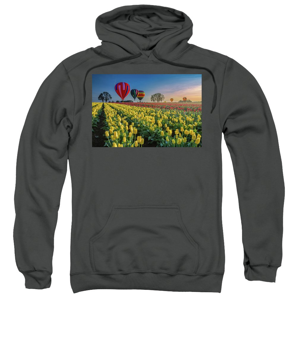Hot Air Balloons Sweatshirt featuring the photograph Hot Air Balloons Over Tulip Fields by William Freebilly photography