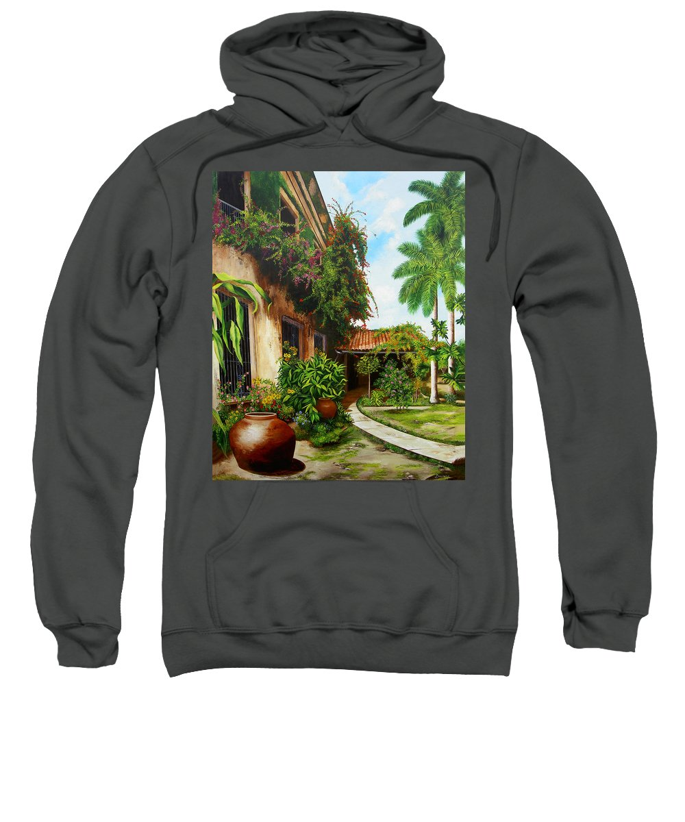 Cuban Sweatshirt featuring the painting Hotel Camaguey by Dominica Alcantara