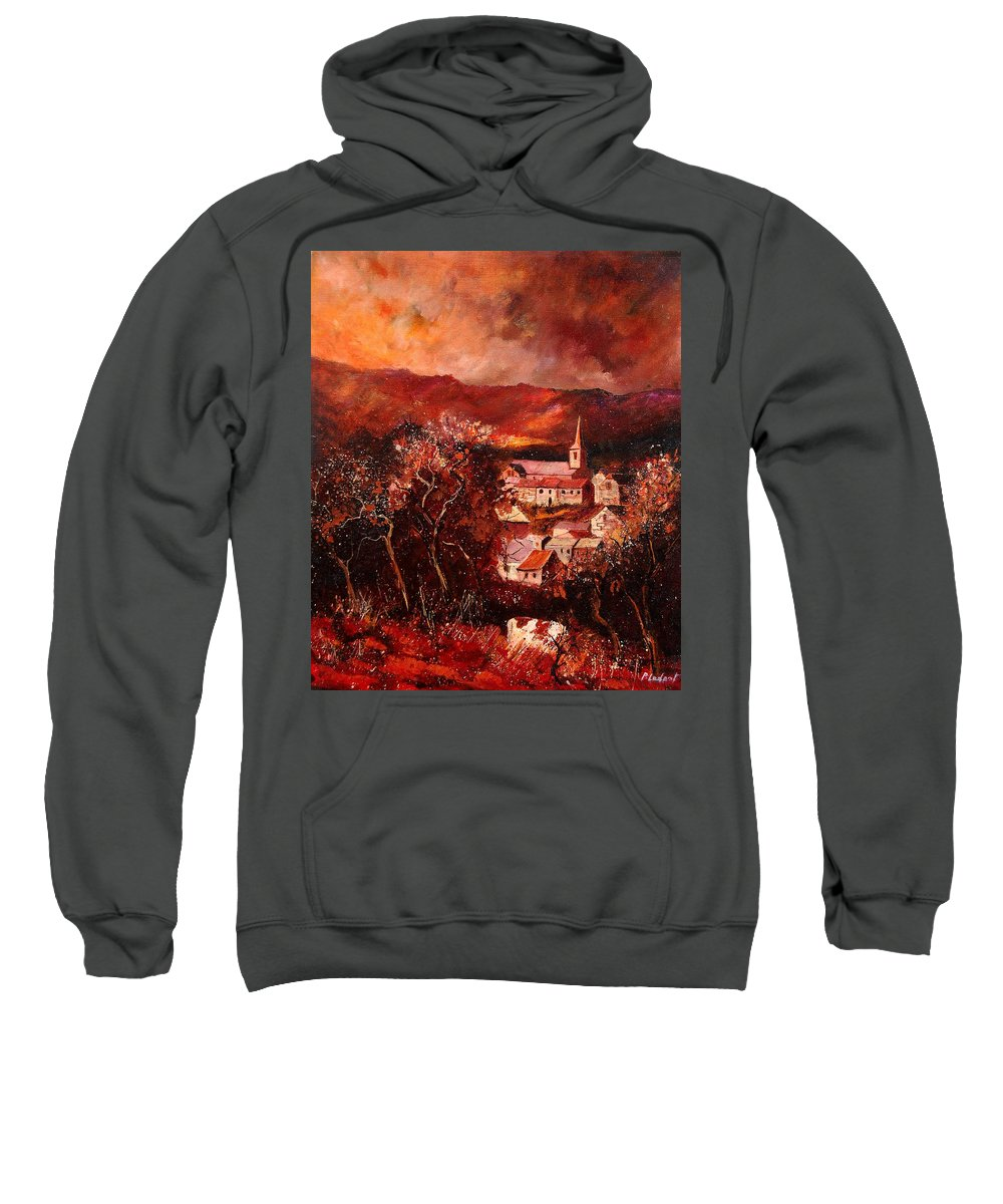 Tree Sweatshirt featuring the painting Hour Village 67 by Pol Ledent