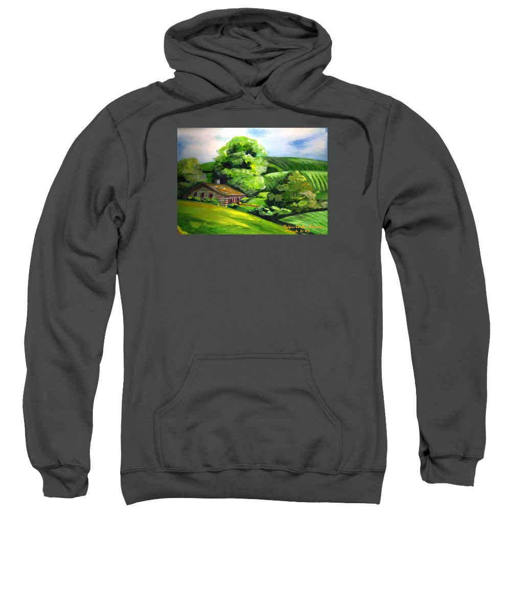 House In The Country Sweatshirt featuring the painting House In The Country by Robin Cordero