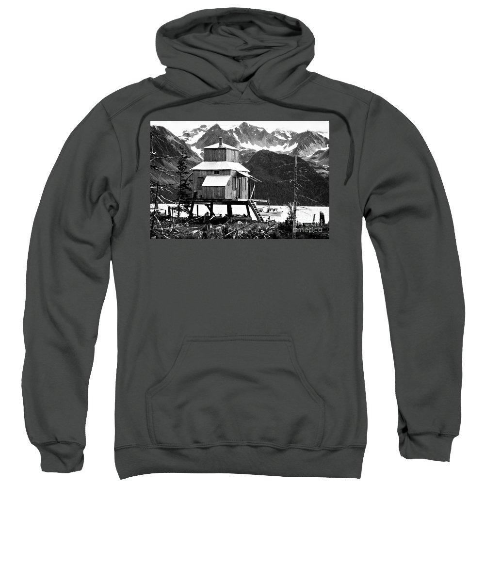 Alaska Sweatshirt featuring the photograph House Of Stilts Bw by James BO Insogna