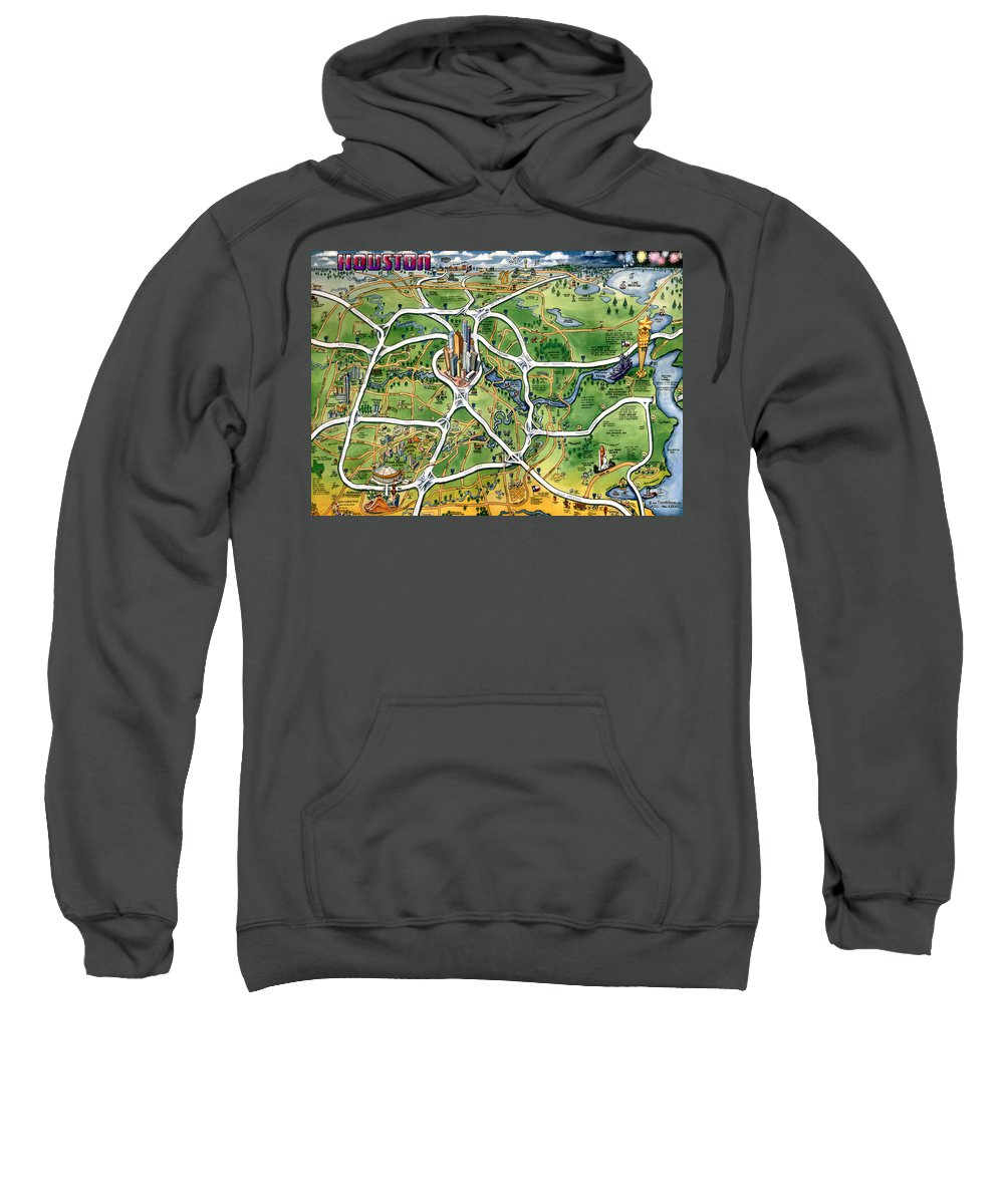 Houston Sweatshirt featuring the painting Houston Texas Cartoon Map by Kevin Middleton