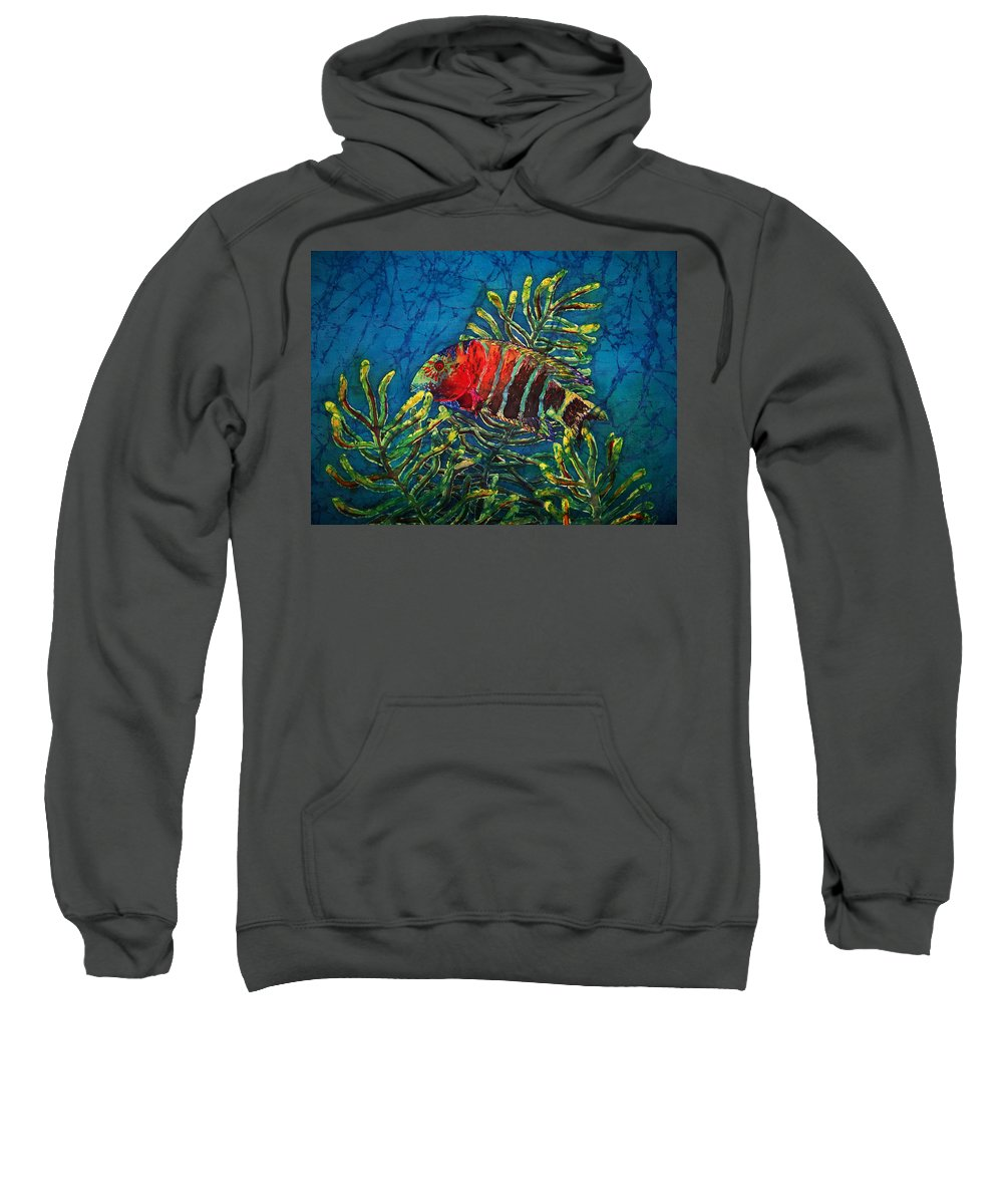 Fish Sweatshirt featuring the painting Hovering - Red Banded Wrasse by Sue Duda