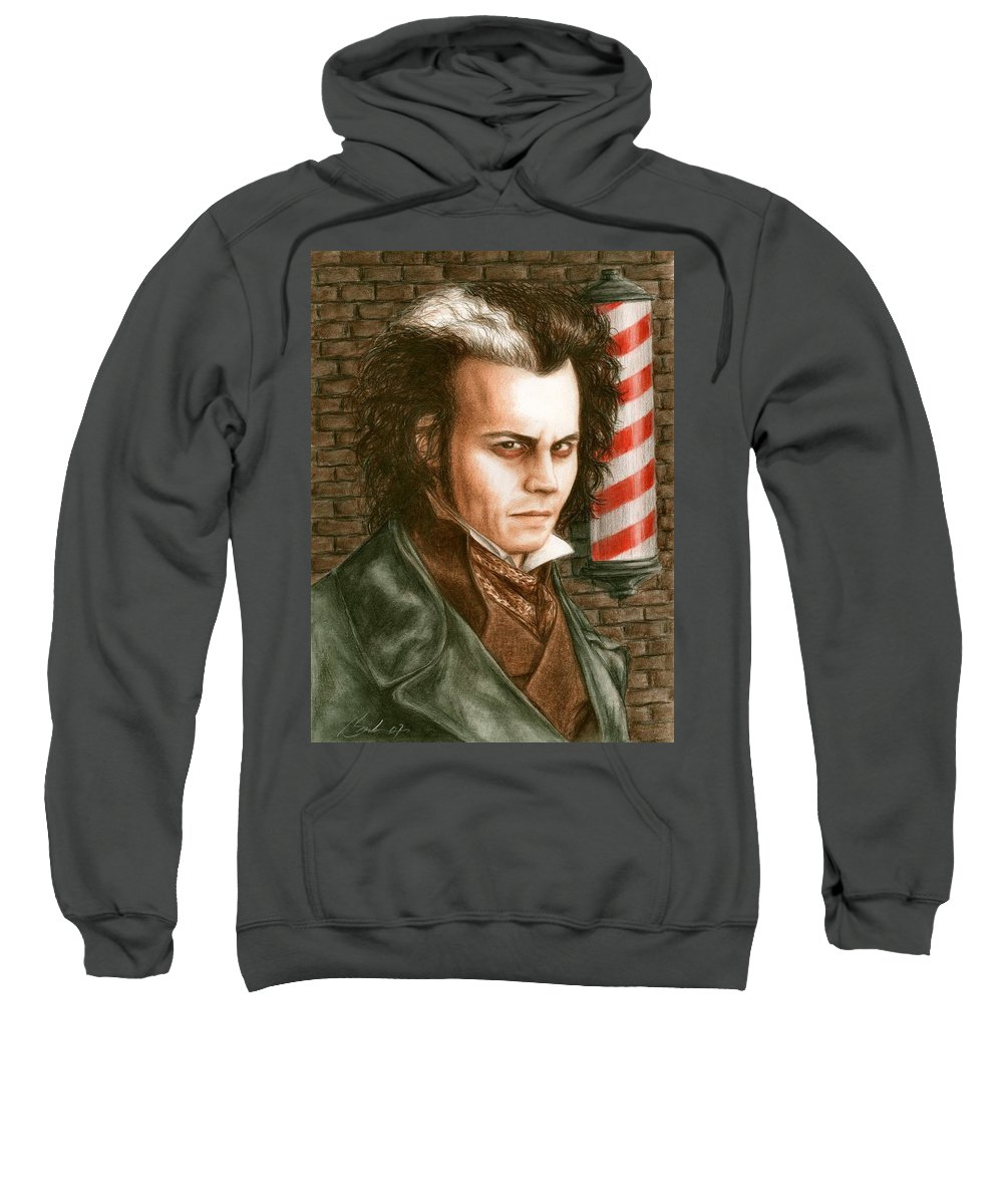 Sweney Todd Johnny Depp Bruce Lennon Art Sweatshirt featuring the painting How About A Shave by Bruce Lennon
