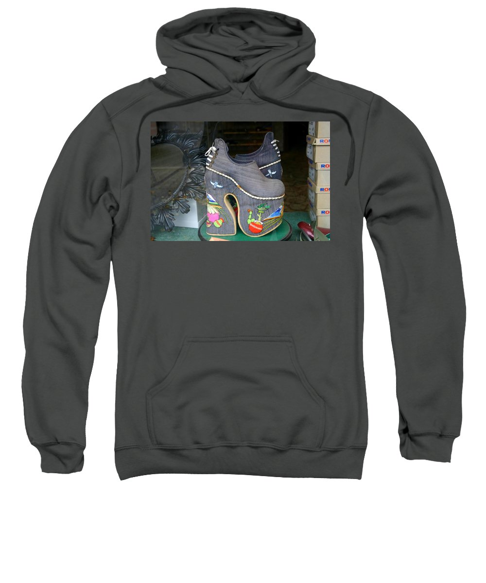 Shoes Sweatshirt featuring the photograph How Much Are Those Shoes In The Window by Minaz Jantz