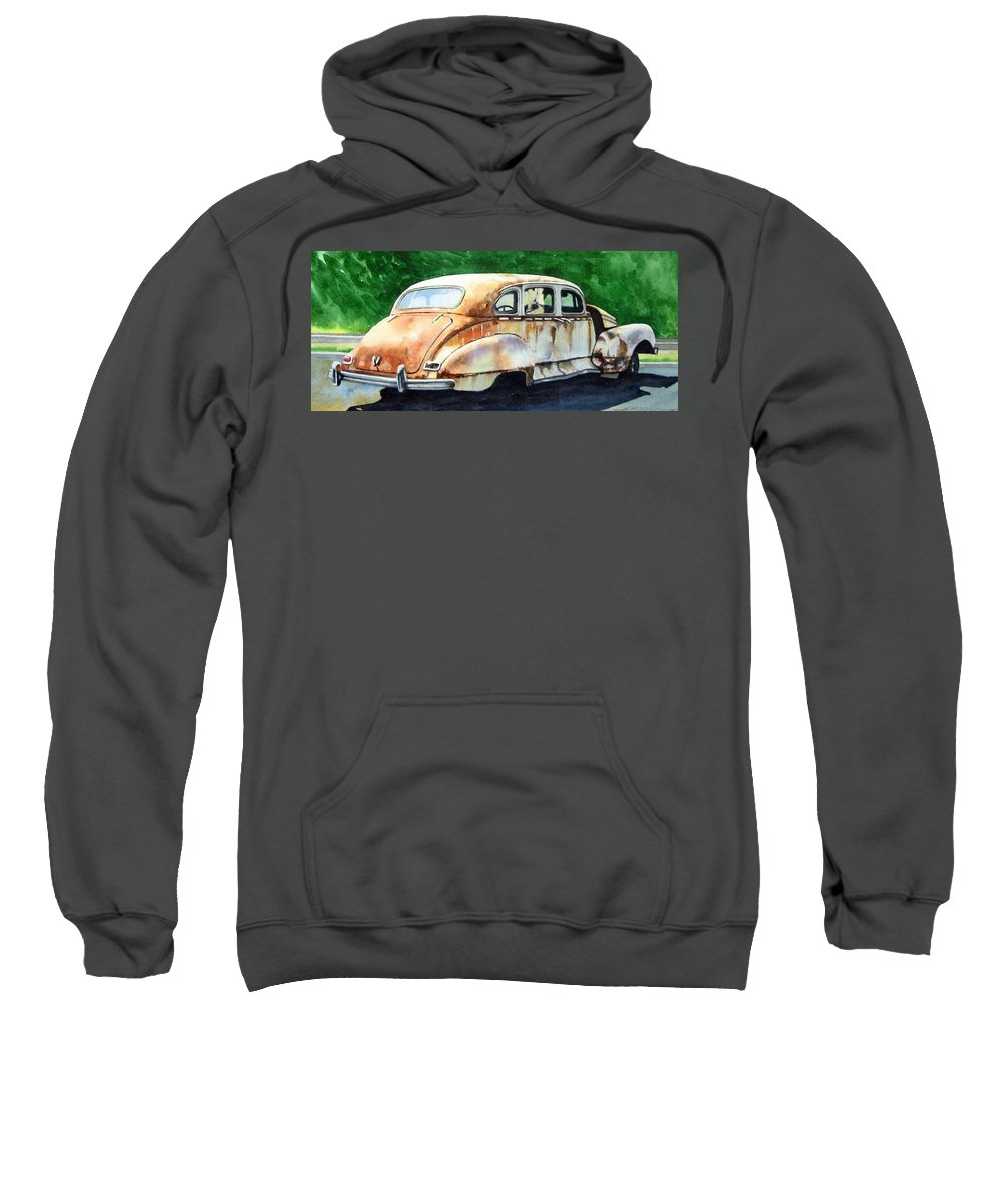 Hudson Car Rust Restore Sweatshirt featuring the painting Hudson Waiting For A New Start by Ron Morrison