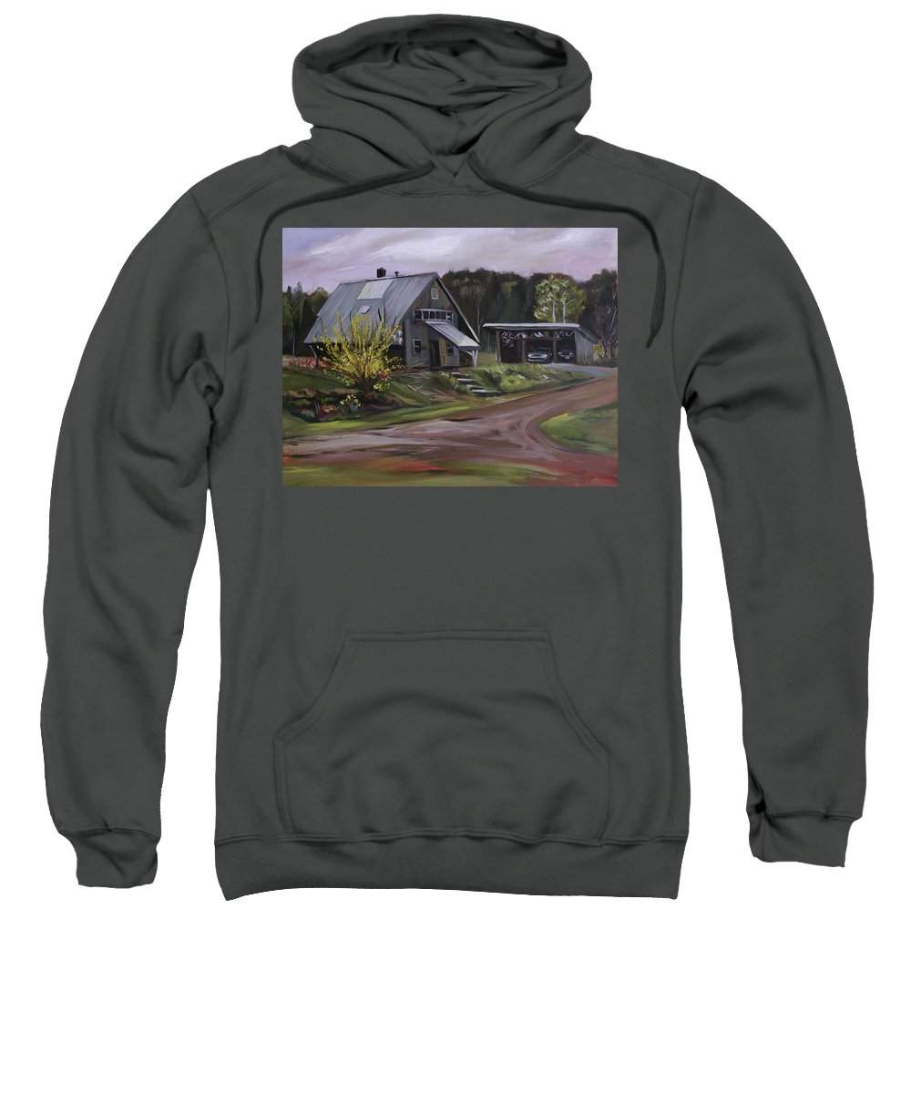 Spring Sweatshirt featuring the painting Humpals Barn by Nancy Griswold