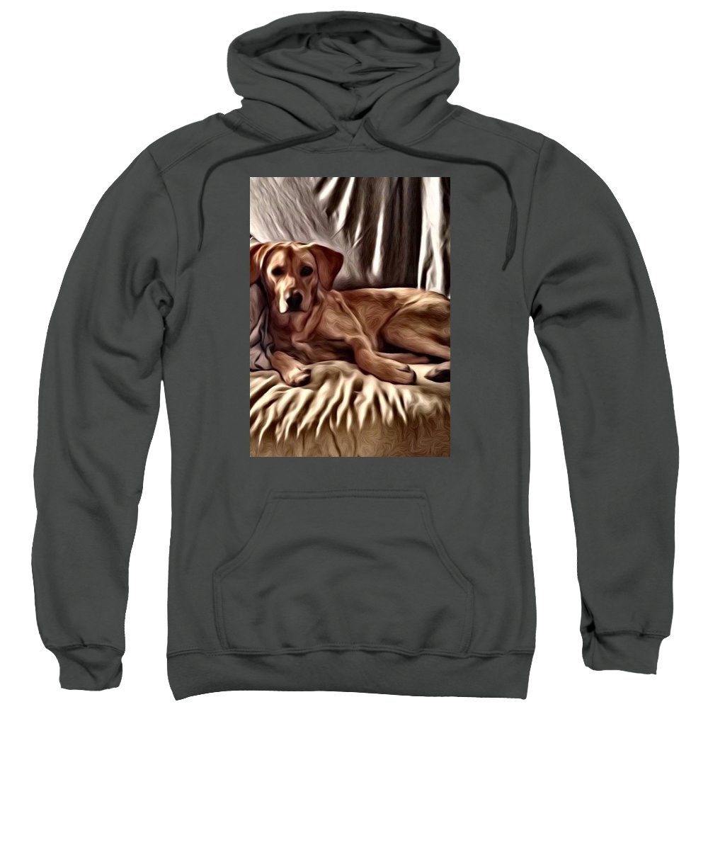 Dog Sweatshirt featuring the painting Hunee by Charles Ward