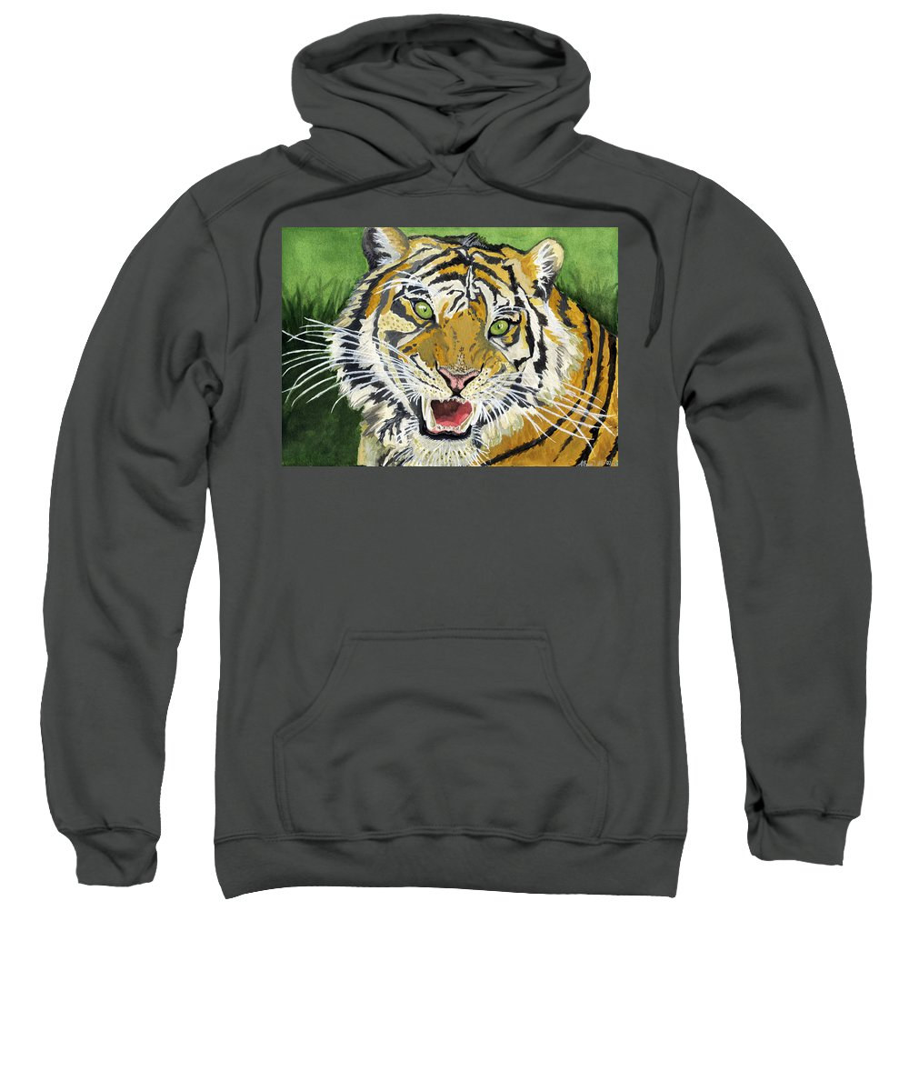 Tiger Sweatshirt featuring the painting Hungry Tiger by Alban Dizdari