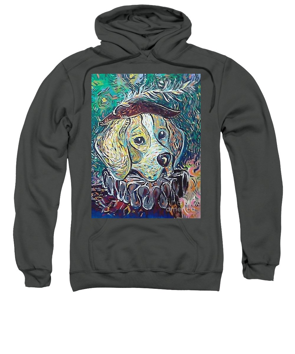 Dog Sweatshirt featuring the painting Hutch Vom Schloss Altenau by Raluca Nedelcu
