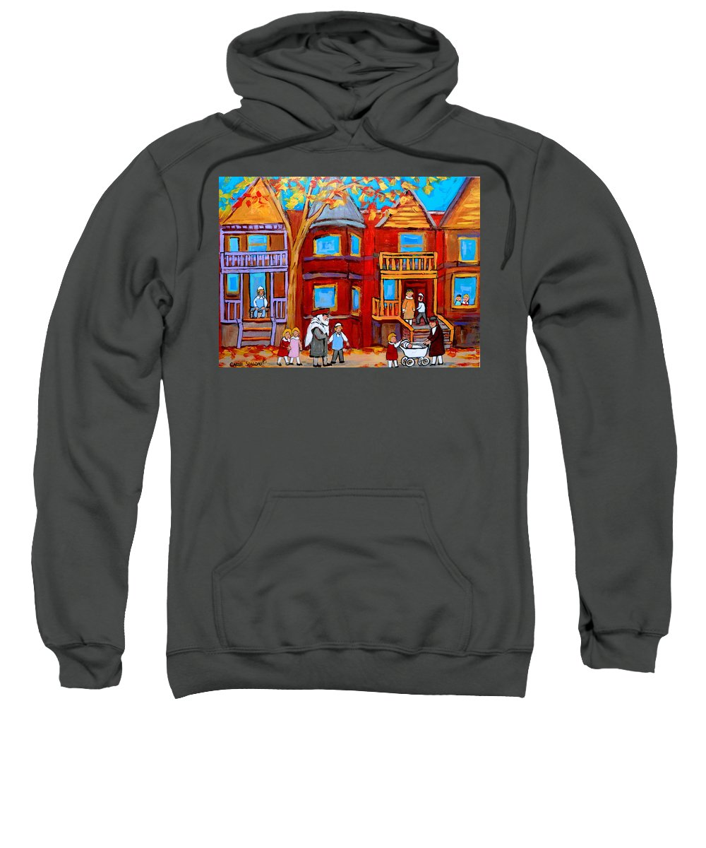 Hutchison Street Sabbath In Montreal Sweatshirt featuring the painting Hutchison Street Sabbath In Montreal by Carole Spandau