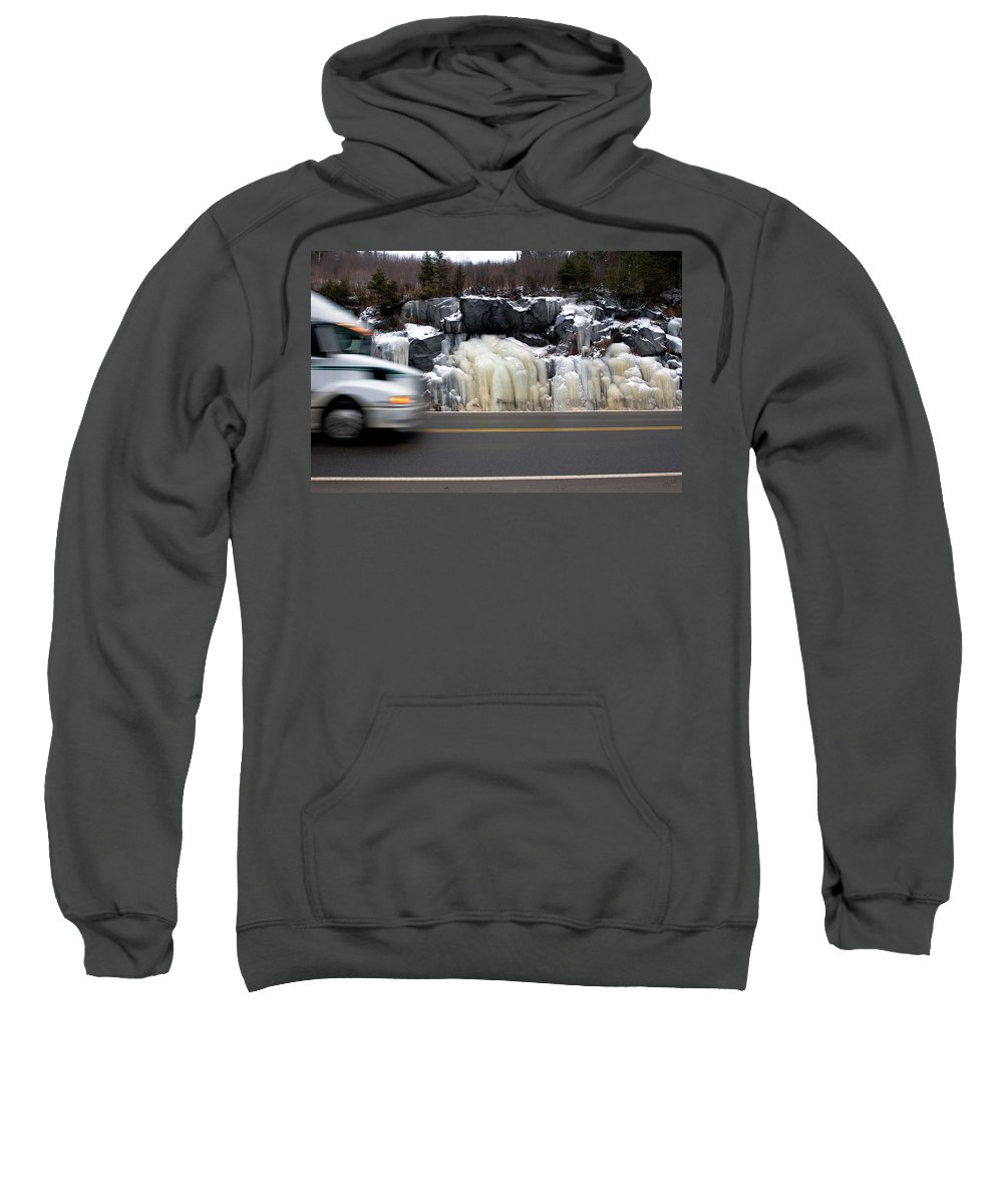 Hwy Sweatshirt featuring the photograph Hwy Ice  by Doug Gibbons
