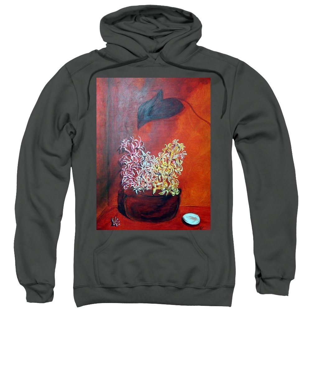 Flowers Sweatshirt featuring the painting Hyacinths In Shape Times 3 by Lisa Stanley