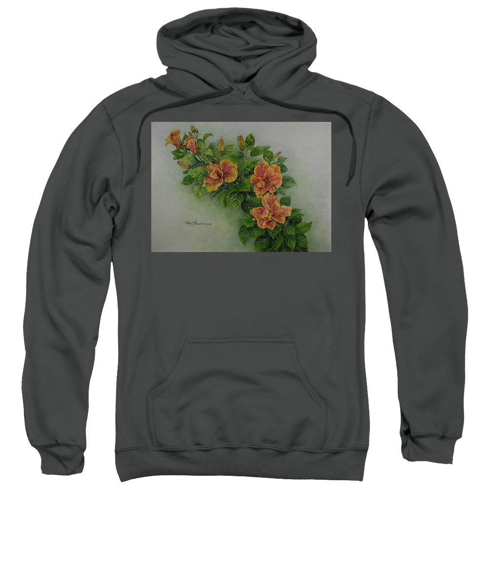 Watercolor Sweatshirt featuring the painting Hybrid Hibiscus by Olive Pascual