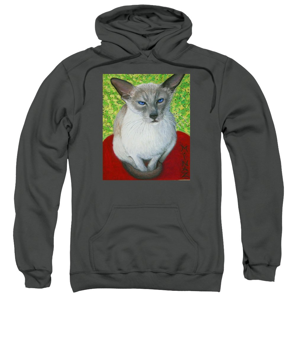 Siamese Sweatshirt featuring the painting I Am Siamese If You Please by Minaz Jantz