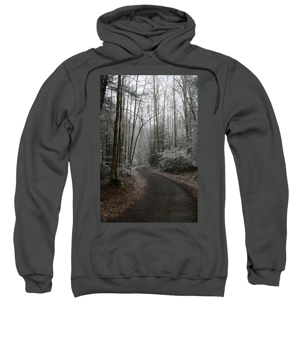 Nature Road Country Woods Forest Tree Trees Snow Winter Peaceful Quite Path White Forest Drive Sweatshirt featuring the photograph I Am The Way by Andrei Shliakhau