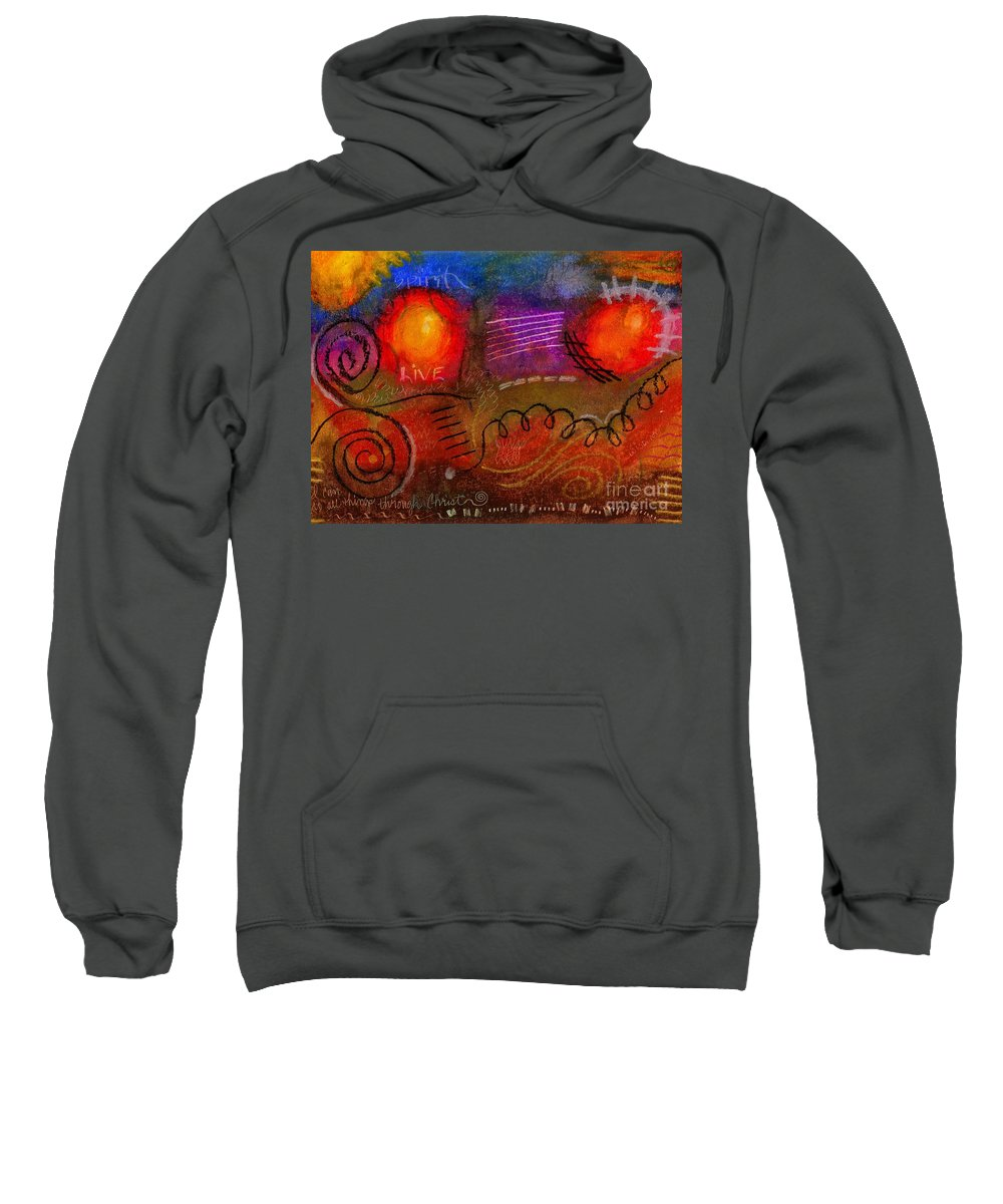 Scripture Sweatshirt featuring the painting I Can Do All Things by Angela L Walker