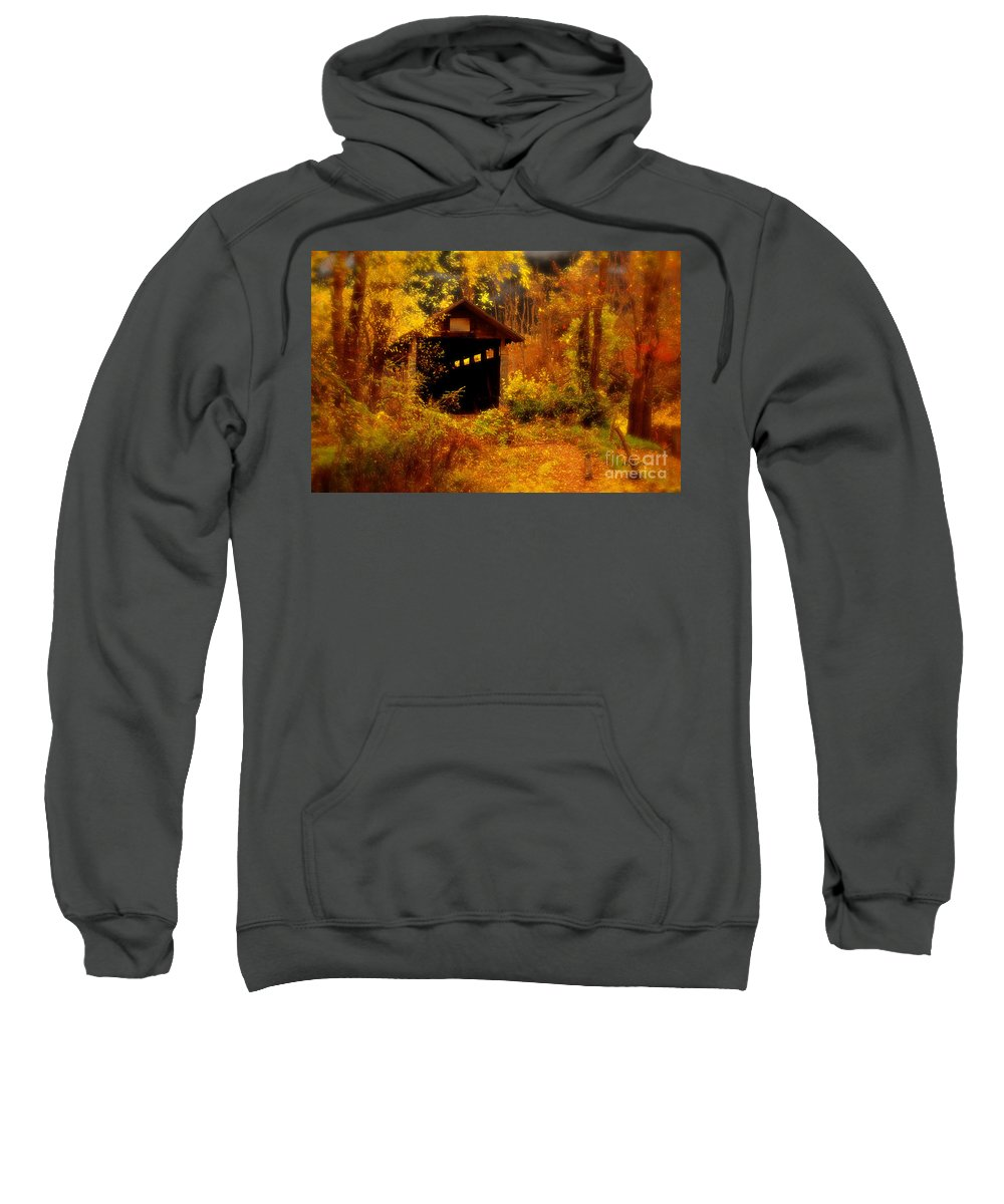 Halloween Sweatshirt featuring the digital art I Double Dog Dare Ya by Lois Bryan