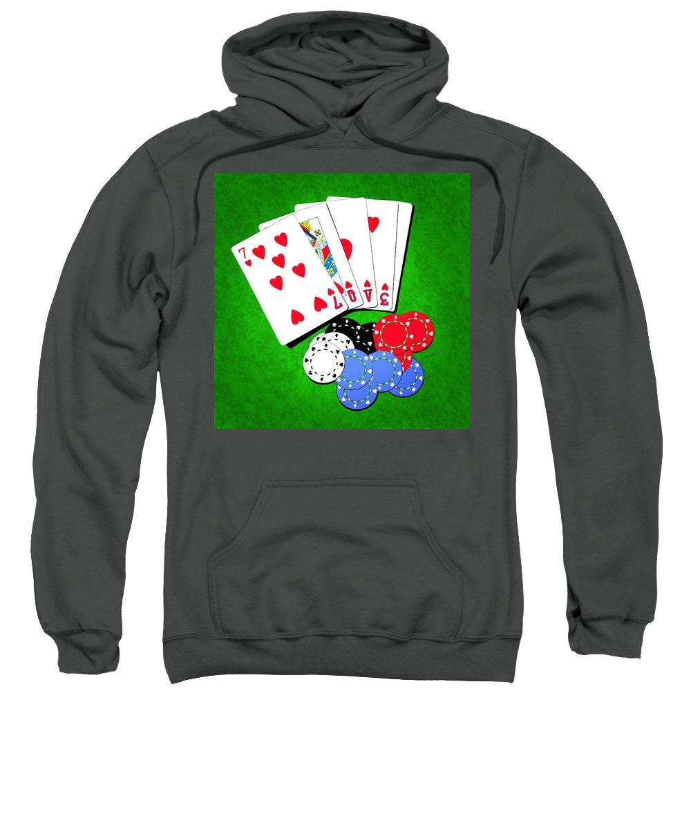 Addiction Sweatshirt featuring the digital art I Love Poker by Francesa Miller