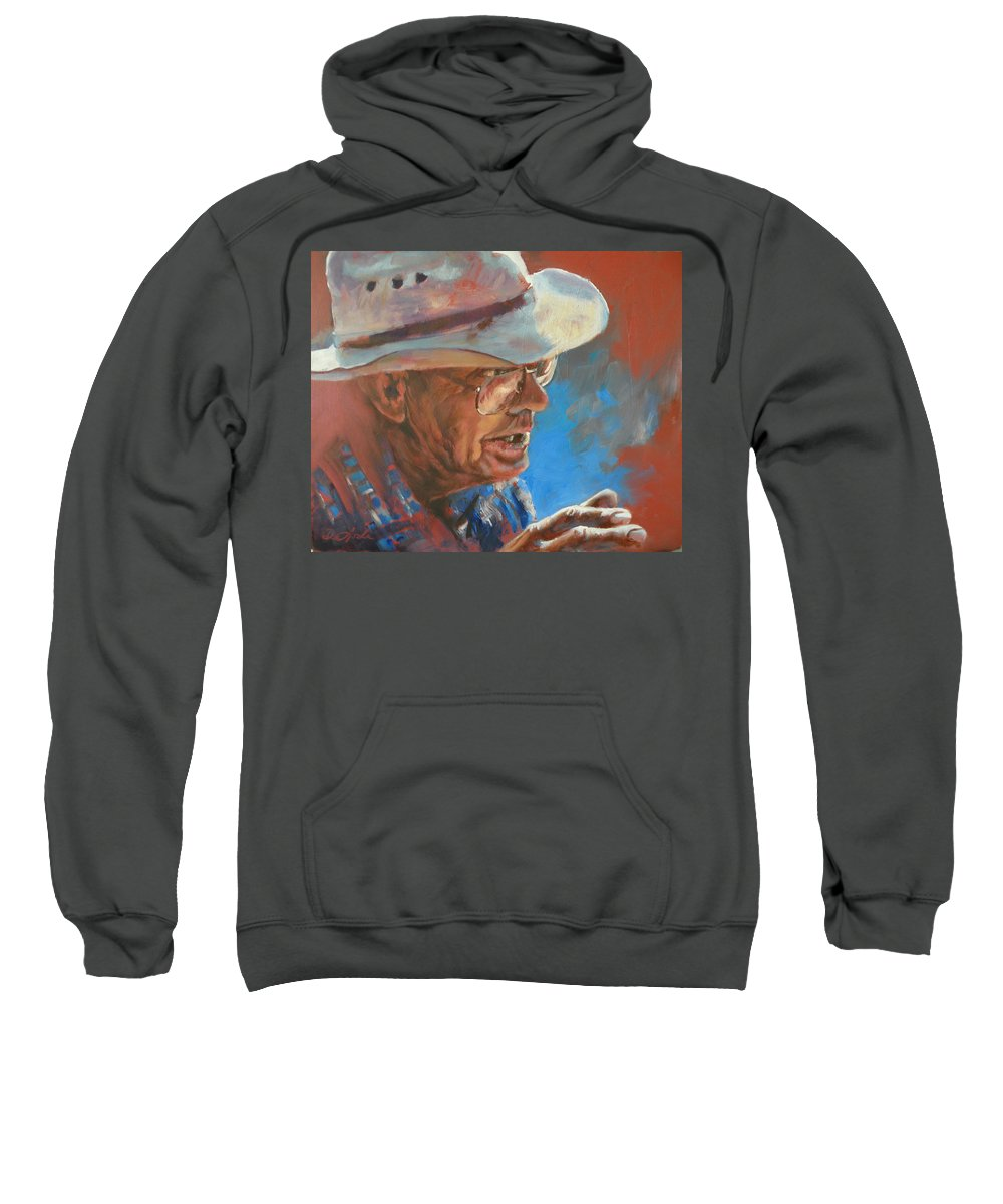 Story Telling Sweatshirt featuring the painting I Remember When by Mia DeLode