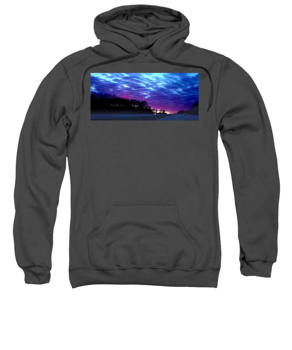 Landscape Sweatshirt featuring the photograph I70 West Ohio by Steve Karol
