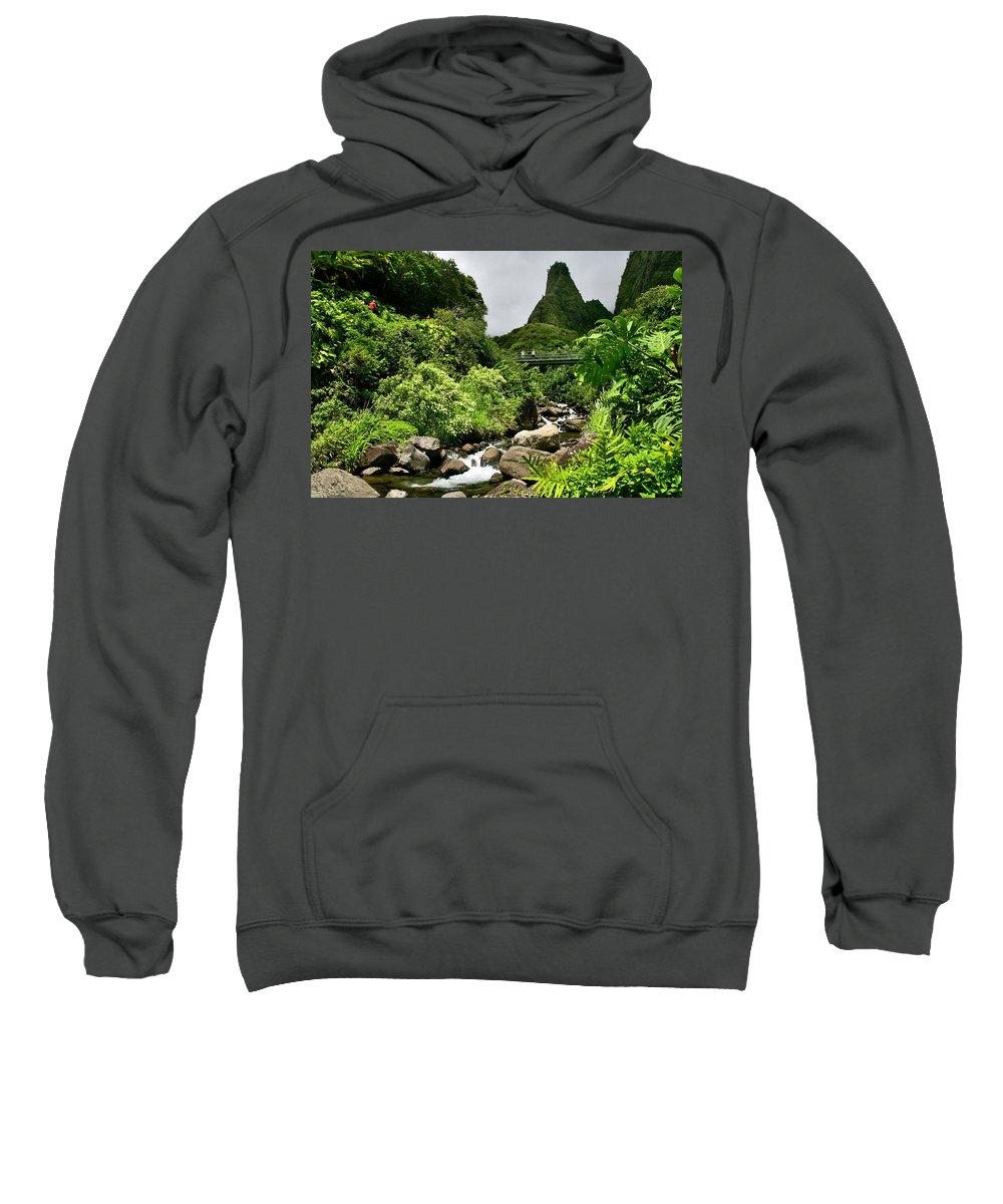 Maui Sweatshirt featuring the photograph Iao Needle by Nature Photographer