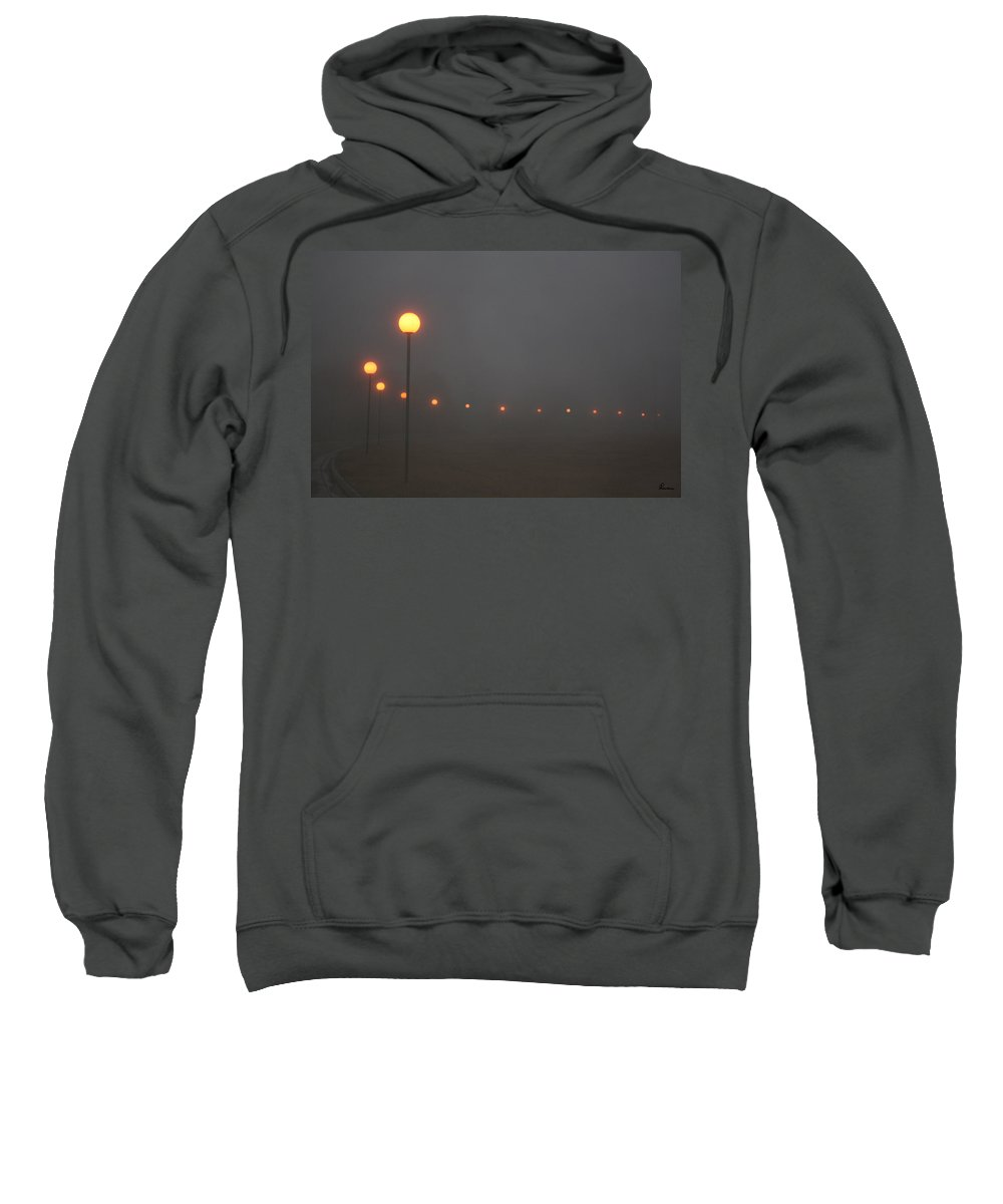 Ice Fog Park Lamps Misty Cold Weather Eerie Sweatshirt featuring the photograph Ice Fog And Park Lamps by Andrea Lawrence