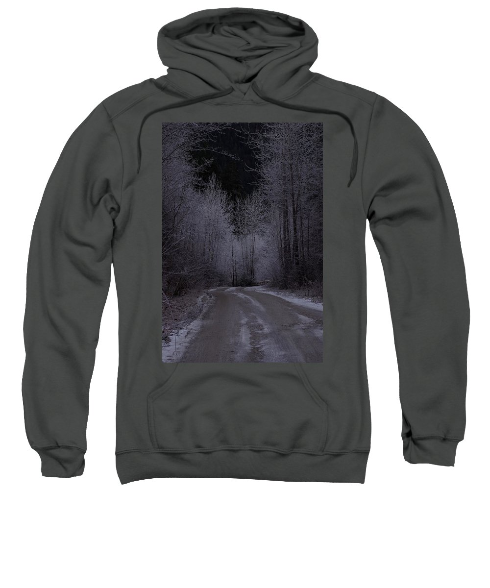 Ice Sweatshirt featuring the photograph Ice Road by Cindy Johnston