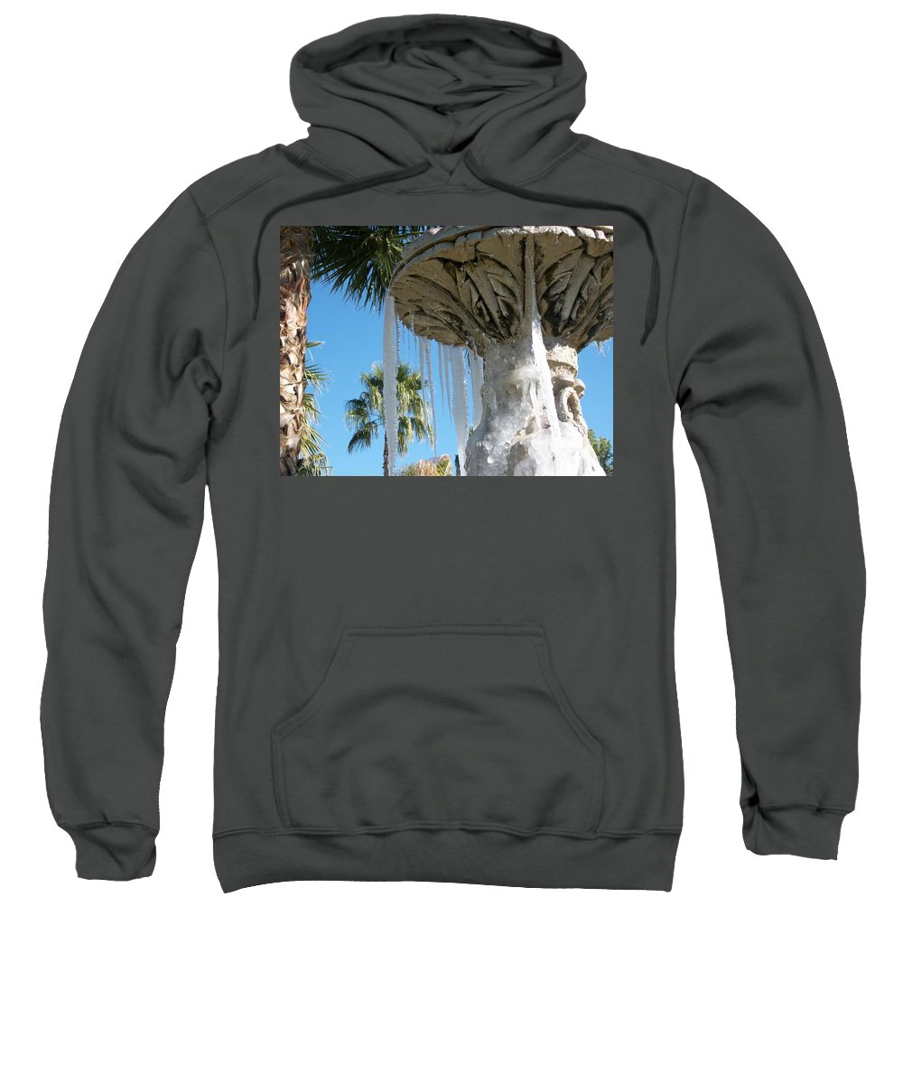 Color Photography By Heather J. Kirk And Photographic Artistry. Print On Photo Paper Sweatshirt featuring the photograph Icicles In A Palm Filled Sky Number 1 by Heather Kirk