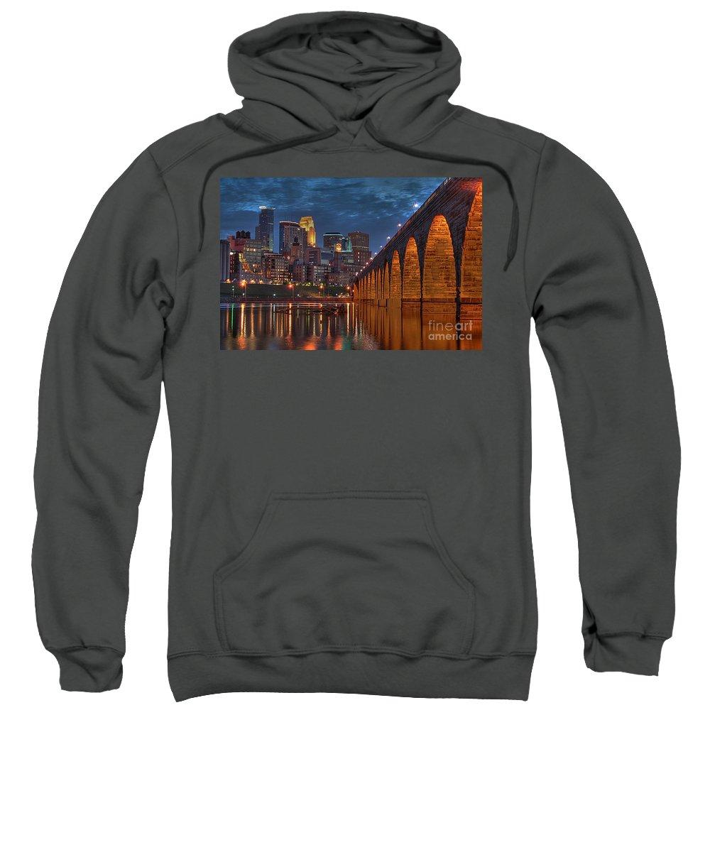 Minneapolis Stone Arch Bridge Sweatshirt featuring the photograph Iconic Minneapolis Stone Arch Bridge by Wayne Moran