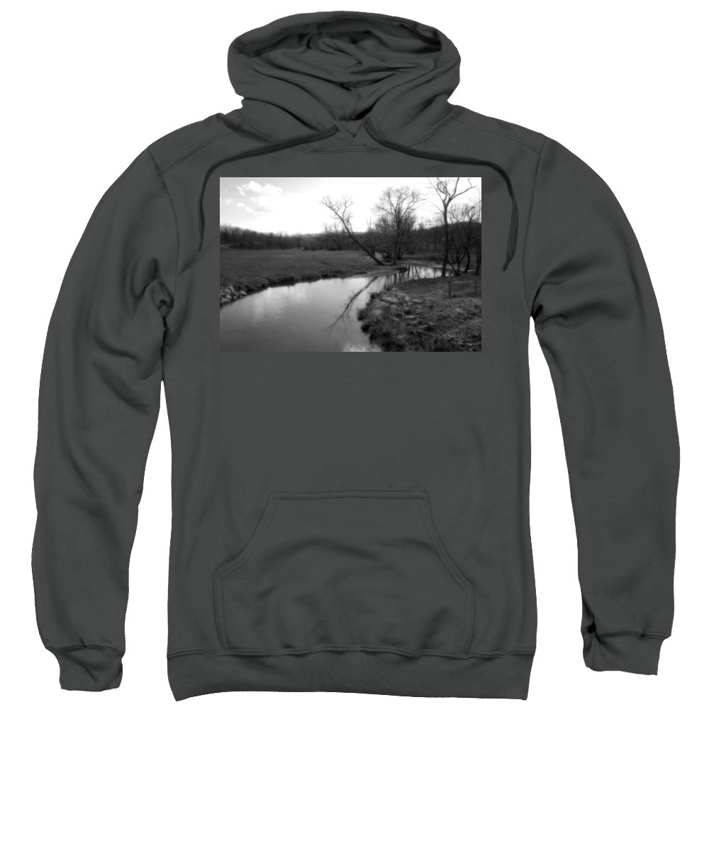 Landscape Sweatshirt featuring the photograph Idyllic Creek - Black And White by Angela Rath