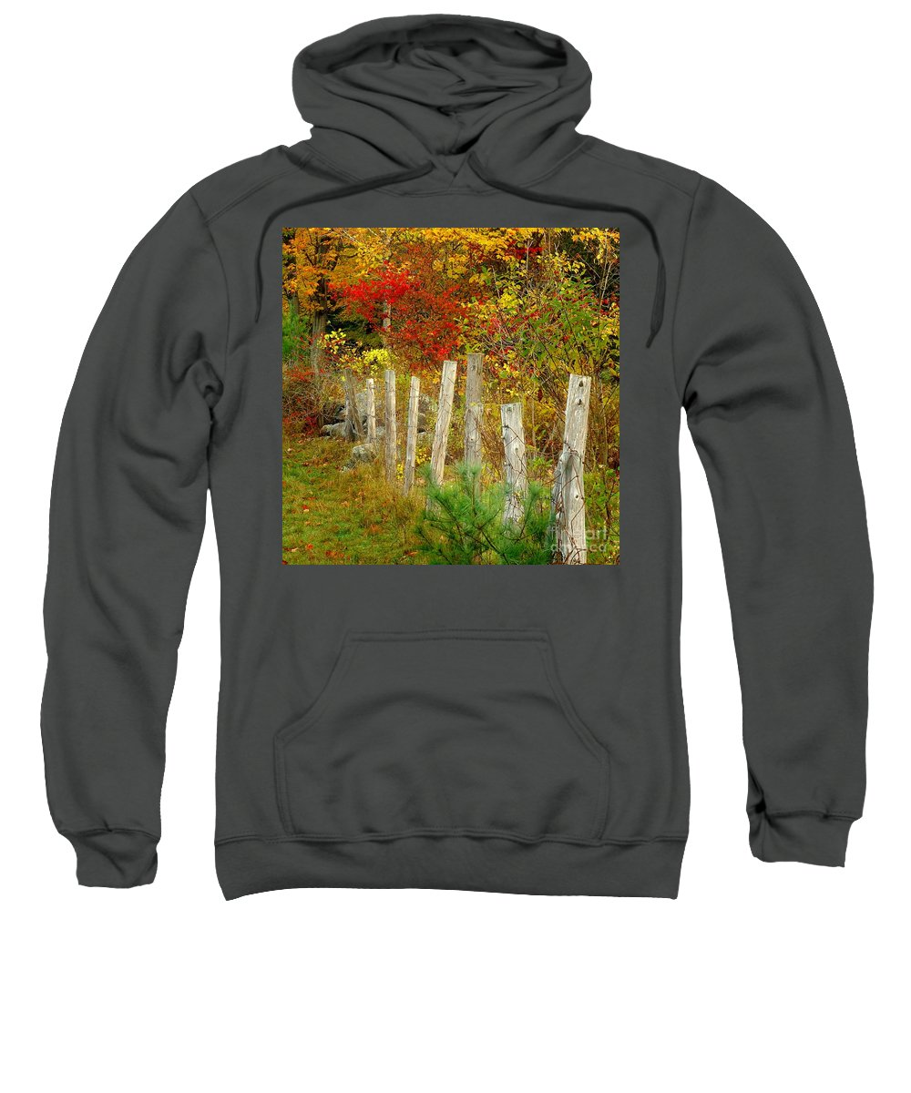 New England Fall Sweatshirt featuring the photograph If I Could Paint No 1 - New England Fall Fence by Jon Holiday